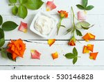 cosmetic cream and rose flowers ... | Shutterstock . vector #530146828