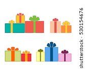 christmas gifts ribbons icons... | Shutterstock . vector #530154676