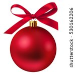 red christmas ball with bow.... | Shutterstock .eps vector #530162206