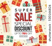christmas sale banner with gift ... | Shutterstock .eps vector #530166826