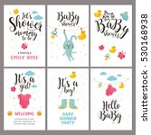 Stock vector baby shower posters set vector invitation with cute kids illustration baby arrival and shower 530168938
