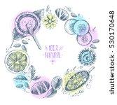 hand drawn vector round wreath... | Shutterstock .eps vector #530170648