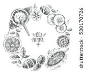 hand drawn round wreath... | Shutterstock . vector #530170726