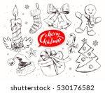 christmas vintage line art... | Shutterstock .eps vector #530176582