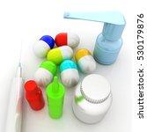 syringe  tablet  pill jar. 3d... | Shutterstock . vector #530179876