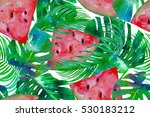 tropical palm leaves ... | Shutterstock . vector #530183212
