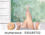 young woman enjoying next to... | Shutterstock . vector #530185732