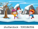 two kids playing with the... | Shutterstock .eps vector #530186506