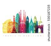 barcelona skyline detailed... | Shutterstock .eps vector #530187235