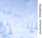 winter watercolor christmas... | Shutterstock .eps vector #530188936