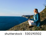 young woman traveler sitting on ... | Shutterstock . vector #530190502