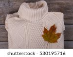 white knitted sweater with a... | Shutterstock . vector #530195716