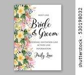wedding invitation floral...   Shutterstock .eps vector #530198032