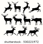 Set Of Deer Silhouettes...