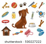 Stock vector pet dog vector icons collar and bowl for dog illustration dogs kennel 530227222