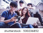 group of happy teen high school ... | Shutterstock . vector #530236852