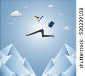 businessman jump over cliff gap ... | Shutterstock .eps vector #530239108
