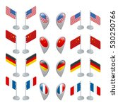 set flags and gps location... | Shutterstock .eps vector #530250766