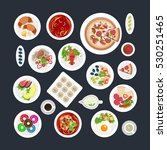 a set of top viewed plates in... | Shutterstock . vector #530251465