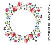 wildflower rose flower wreath... | Shutterstock . vector #530259442