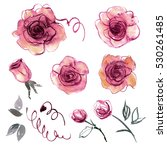 Stock photo cute watercolor hand painted flower elements for invitation wedding card birthday card purple 530261485