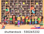 children read in the library... | Shutterstock .eps vector #530265232