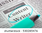 Stock photo a newspaper column in the classifieds with the vacancy of content writer circled with a azure 530285476
