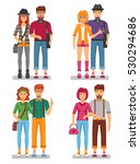 hipster couples concept of... | Shutterstock . vector #530294686