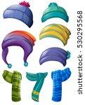 different design of winter hats ... | Shutterstock .eps vector #530295568