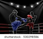 boxing ring surrounded by ropes ... | Shutterstock . vector #530298586