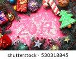 green firry christmas wreath... | Shutterstock . vector #530318845