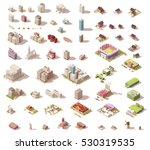 vector buildings set. isometric ... | Shutterstock .eps vector #530319535