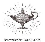 aladdin magic or genie lamp.... | Shutterstock .eps vector #530323705