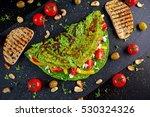 vegetable green omelette with... | Shutterstock . vector #530324326