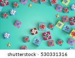 happy birthday and gift box on... | Shutterstock . vector #530331316
