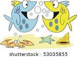 two cheerful cartoon fish... | Shutterstock .eps vector #53035855