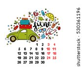 june. 2017. calendar. isolated... | Shutterstock .eps vector #530361196