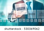 Small photo of A businessman pressing a Legislation button on a transparent screen.
