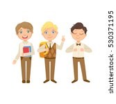 boys in brown outfits happy... | Shutterstock .eps vector #530371195