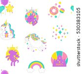 unicorn vector seamless pattern.... | Shutterstock .eps vector #530383105