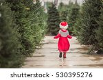 Little Girl In Red Dress On Th...