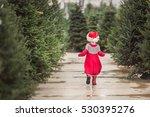 little girl in red dress on the ... | Shutterstock . vector #530395276