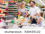 glad parents with kid shopping... | Shutterstock . vector #530435122