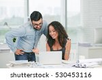 smiling business lady showing... | Shutterstock . vector #530453116