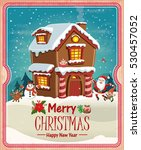vintage christmas poster design ... | Shutterstock .eps vector #530457052