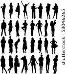 32 human shape silhouettes  ... | Shutterstock .eps vector #53046265