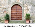 Wooden Door And Stone Arch