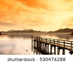 Wooden Jetty  On Lake Chiemsee...