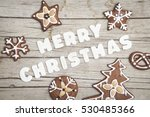 christmassy grey wood... | Shutterstock . vector #530485366