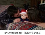 happy family with child posing... | Shutterstock . vector #530491468